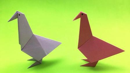 一张纸教你折出简单又可爱的小鸟, 幼儿园小朋友也能轻松学会!