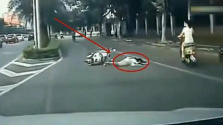 女子突然摔倒, 要不是有行车记录仪记录, 谁都不知道发生了什么