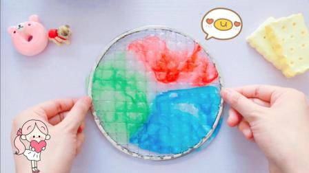 无硼砂自制彩虹网格泥史莱姆, 红蓝绿分别是哪个明星的应援色呢?
