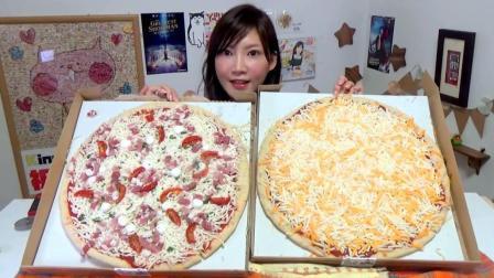 日本吃播大胃王木下佑香吃: 两款超大的披萨