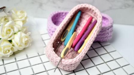 【素姐手作】第83集 布条线长方形收纳框篮子钩针编织教程