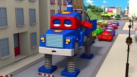迪士尼汽车城的超级变形卡车 超级卡车变形为弹簧车拯救修路而交通瘫痪的汽车城