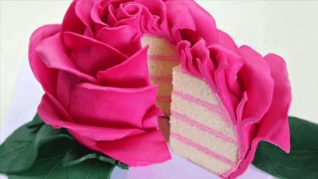 自制大玫瑰蛋糕花, 可以吃的玫瑰花, 你想吃吗