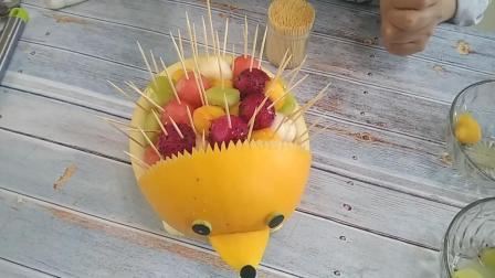 教你做水果拼盘, 萌萌哒小刺猬太漂亮了, 吃着方便赞不绝口