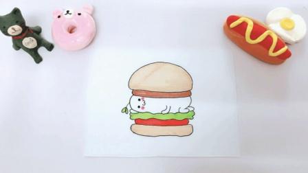 domi请大家吃汉堡啦, 这么可爱的汉堡, 你忍心下口吗?