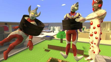 GMOD游戏红宝石星人用铁圈套住泰罗和迪迦