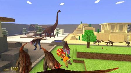 GMOD游戏余晖烁烁骑着扫把打恐龙