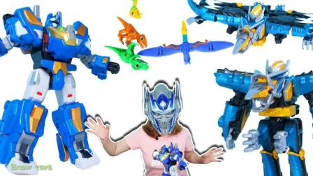 救护魔幻恐龙车神! 恐龙战骑 VS 兽电战队强龙者超级战队恐龙变形金刚恐龙玩具 雪晴姐姐
