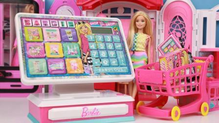精灵宝可梦玩具 第一季 芭比娃娃超大电子收银机过家家玩具开箱