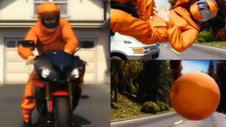 这个摩托车安全服让你变成一个球, 网友: 有多远滚多远?