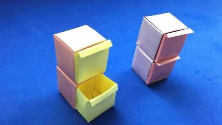 漂亮的双层抽屉收纳盒折纸, 做好后用来装小东西, 折纸视频教程