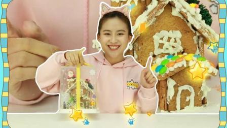 姜饼屋diy食玩玩具, 手工制作一个可以吃的饼干屋子吧