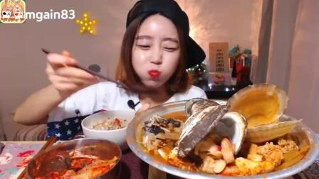 韩国大胃王Dorothy欧尼吃海鲜杂烩锅, 鸟贝、扇贝、螃蟹、蛤蜊! 深渊巨口啊, 前方高能!