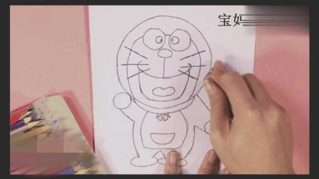 儿童简笔画, 动画人物多拉A梦简笔画教程, 幼儿早教画画教程。