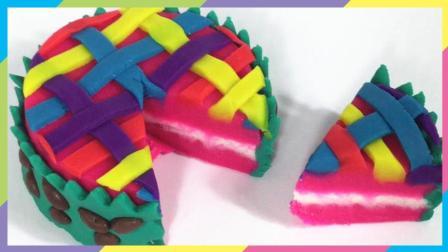 月采超Q食玩玩具 121 培乐多制作彩虹编织蛋糕 粘土橡皮泥