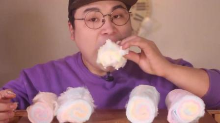 大胃王吃4条棉花糖, 拿手撕着吃, 太过瘾了!
