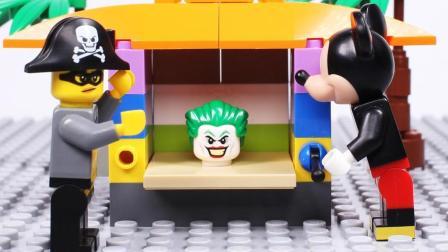 乐高玩具米奇开未来商店, 不料遇到劫匪! 警察出动。