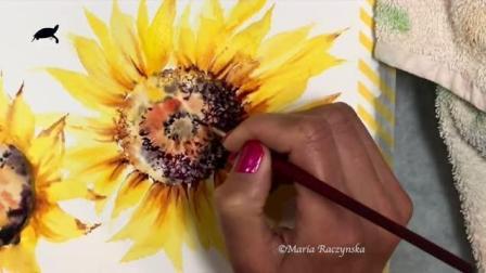 水彩初学者必看: 最详细的向日葵水彩画教程, 看完不会画你来找我