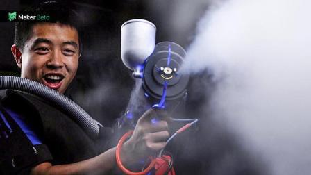 标准版 液氮小伙自制液氮枪, 3s急速冷冻蔬果, 吃一口爽到嘴里冒烟