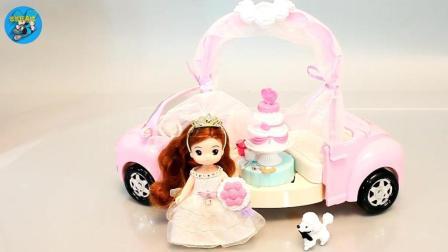 儿童玩具, 甜甜过生日, 小狗狗送礼物, 漂亮的小汽车和蛋糕, 悠悠玩具城