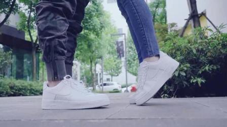 Nike空军一号AF1, 纯白情侣板鞋上脚欣赏!
