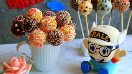 圆圆的小蛋糕做成棒棒糖的模样, 孩子看了一定超开心!