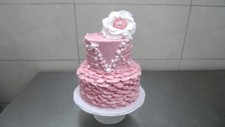 奶油蛋糕装饰教程, 适合甜品的初学者, 一款粉嫩嫩小公举蛋糕