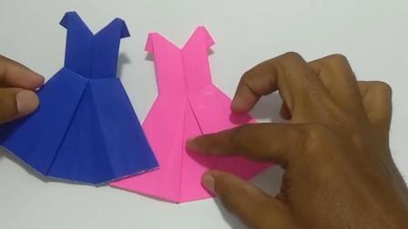 教你用纸折一件裙子, 3分钟就学会!