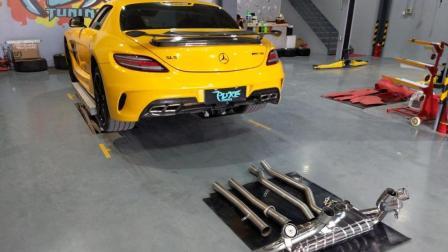 奔驰SLS改装capristo排气中尾段路试
