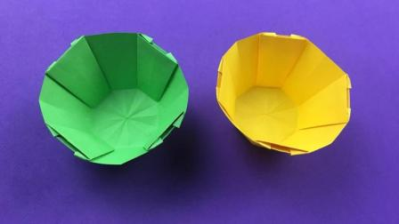 一张纸就能折出简单漂亮的小碗, 学会后留着教孩子, 折纸视频教程
