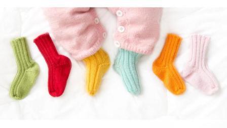 婴儿松口保暖袜子毛线棒针编织宝宝袜视频教程