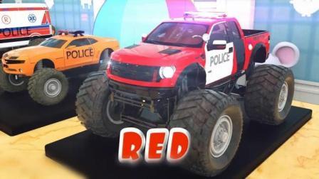 创意早教: 卡通玩具小汽车 警车 染色小动画 学习颜色