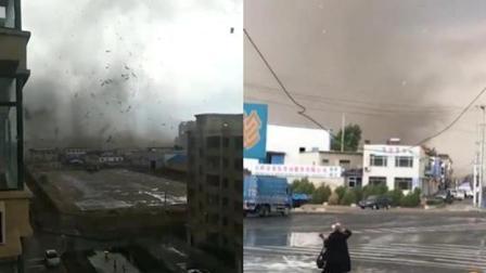 吉林震后现龙卷风 漏斗云着地卷起地面尘埃