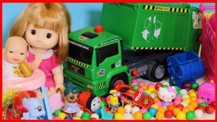 洋娃娃和自动垃圾收集车的玩具故事