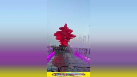 上合峰会期间, 青岛五四广场夜景更漂亮了!