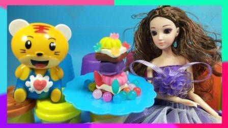 灵犀小乐园之美食小能手 欢乐虎邀请芭比娃娃制作美味蛋糕 邀请芭比制作美味蛋糕