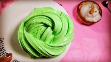 干掉的黏土DIY绿茶冰激凌雪糕, 无硼砂无胶水, 创意解压手工