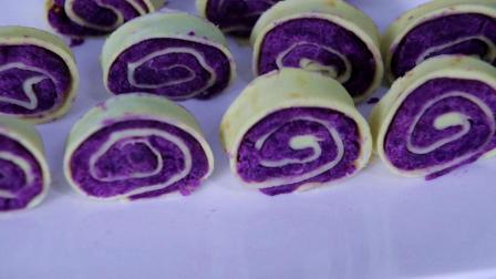 早餐饼新做法: 鸡蛋面糊一调, 卷进去点儿紫薯泥, 香甜不油腻, 看着都想流口水!