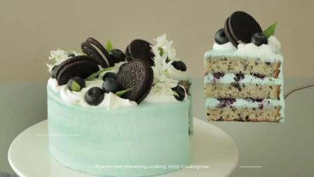 【ASMR烘焙】奥利奥蓝莓芝士蛋糕.少女心的Tiffany蓝.中字详解