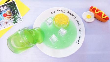 夏天快到了, 用冰块自制无硼砂柠檬泥史莱姆, 冰凉清爽不粘手