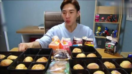 韩国吃播大胃王奔驰小哥BANZZ吃泡芙, 这才是真正的大胃王