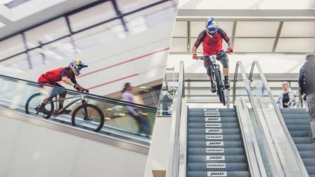 自行车狂人骑车下扶梯 商场速降狂飙技惊四座