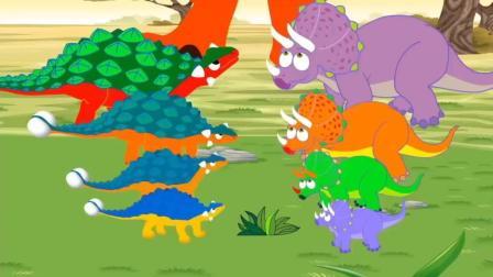 三角龙甲龙争斗, 被霸王龙吓跑了 恐龙动漫