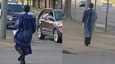 美国黑人高中生走路去毕业典礼照片感动网友