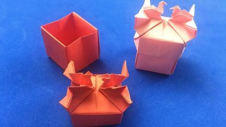 教你用纸折个这样的鸳鸯鹤礼盒送人, 简单好做又喜气, 折纸视频