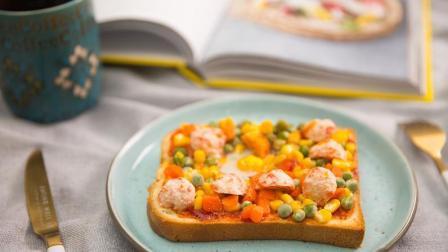 用虾丸杂蔬吐司小披萨当早餐, 开启元气满满的一天吧!
