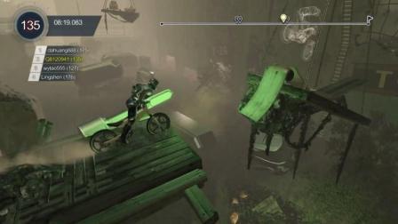 特技摩托: 自行车超速竞赛, 楚河冲到赛点, 发出杠铃般大笑