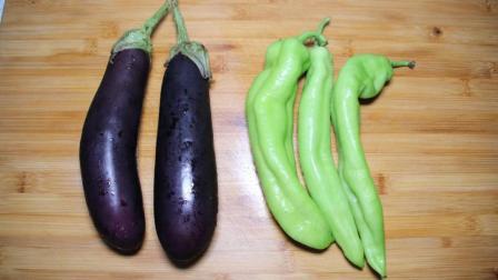 2个茄子, 3个青椒, 不用油炸也好吃, 鲜香美味, 做法超简单