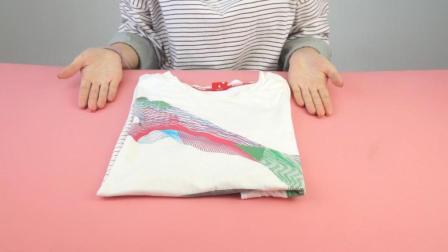 如何快速整齐的叠短袖? 服装店老板都用这个方法, 3秒钟就叠好, 超实用!