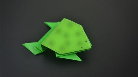会跳的青蛙折纸, 做法原来这么简单, 儿童益智手工折纸教程